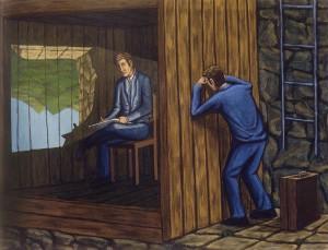 Como la pintura (espejo), 2003. 89 x 116 cm. Óleo sobre lienzo.
