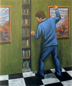 Biblioteca decalcomaníaca,  2003.  65 x 54 cm.  Óleo sobre lienzo.