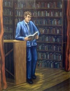 Lector en escena, 2003.  116 x 89 cm.  Óleo sobre lienzo.