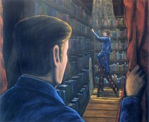 Lector en escena con espectador, 2003. 54 x 65. Óleo sobre lienzo.