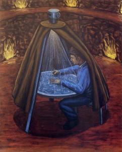 La forma del universo, 2003.  100 x 81 cm.  Óleo sobre lienzo.