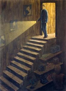 Descenso de J.V. Marjov, 2003.  71 x 52 cm.  Óleo sobre lienzo.