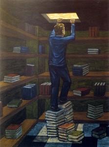 Ascenso de J.V. Marjov, 2003.  73 X 54 cm.  Óleo sobre lienzo.