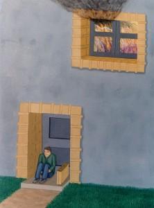 El hogar en llamas, 1994. Óleo sobre tela, 73 x 54 cm.