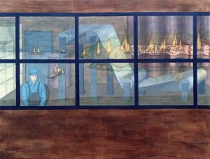 Una luz en la noche, 1994. Óleo sobre tela, 116 x 89 cm.