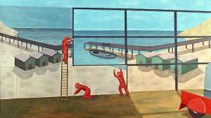 Vistas al puerto, 1994. Óleo sobre lienzo, 90 x 160 cm.