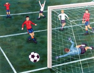 Autorretrato fallando el gol decisivo, 1995. Óleo sobre tela, 92 x 73 cm.