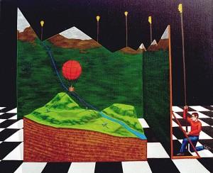 Detrás de todos los sueños o El sueño de Cristina, 1998. Acrílico sobre tela, 54 x 65 cm.