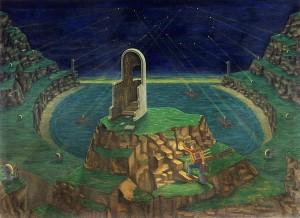 Los grandes reflectores buscan a Dios, 1998. Óleo sobre tela, 134 x 183 cm.