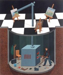 Memoria combustible, 1998. Acrílico sobre tela, 65 x 54 cm.