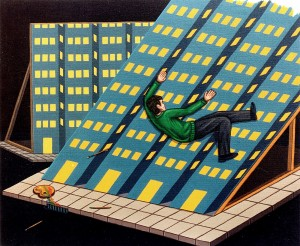 Paisaje cosmopolita, 1998. Acrílico sobre tela, 38 x 46 cm.