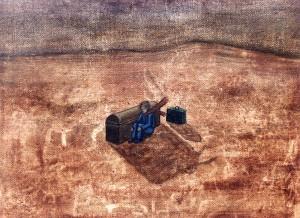 Los mapas ciegos IV, 1999. Óleo sobre tela, 23 x 30 cm.