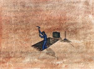 Los mapas ciegos V, 1999. Óleo sobre tela, 23 x 30 cm.