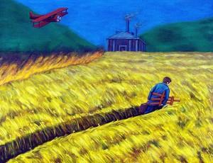 Una distancia acogedora, 1999. Óleo sobre tela, 73 x 92 cm.