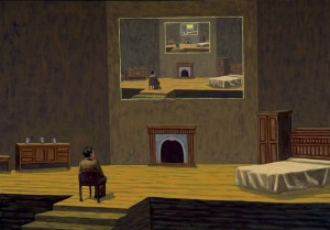 Teatro cartesiano: inicio, 2006. 81 x 116 cm. Óleo sobre lienzo.