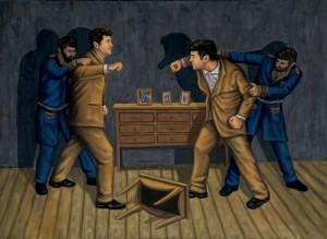Homúnculo 1 vs. Homúnculo 2, 2006. 100 x 73 cm. Óleo sobre lienzo.