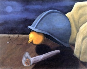 Trampa doblemente mortal, 1991. Óleo sobre lienzo, 81 x 65 cm.
